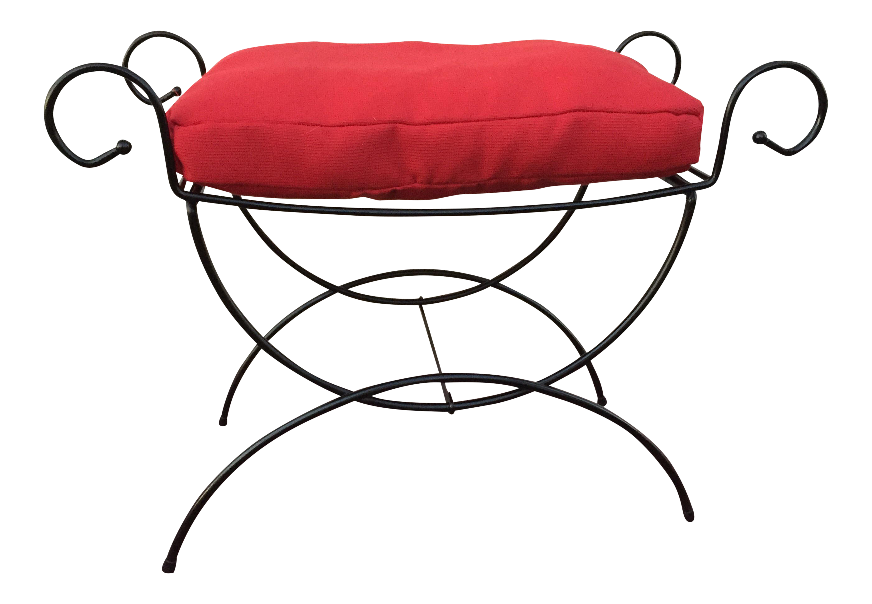 Hollywood Regency Wire Bench With Custom Cushion | Custom cushions ...