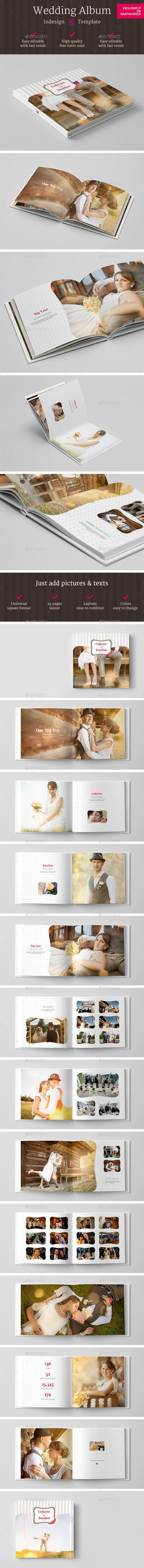 Square Wedding Photo Album Indesign Template
