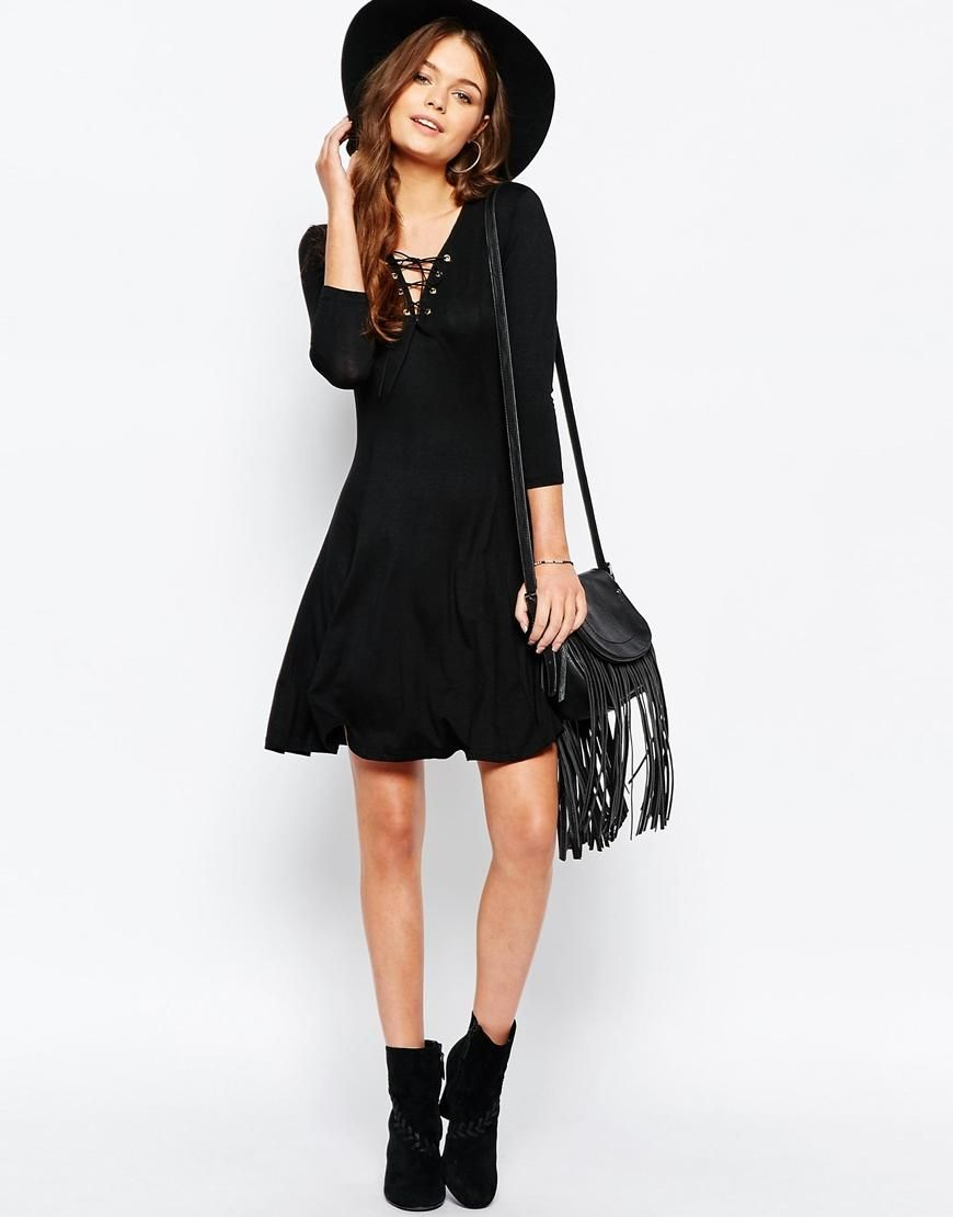 New look new look lace up swing dress at asos staystylish