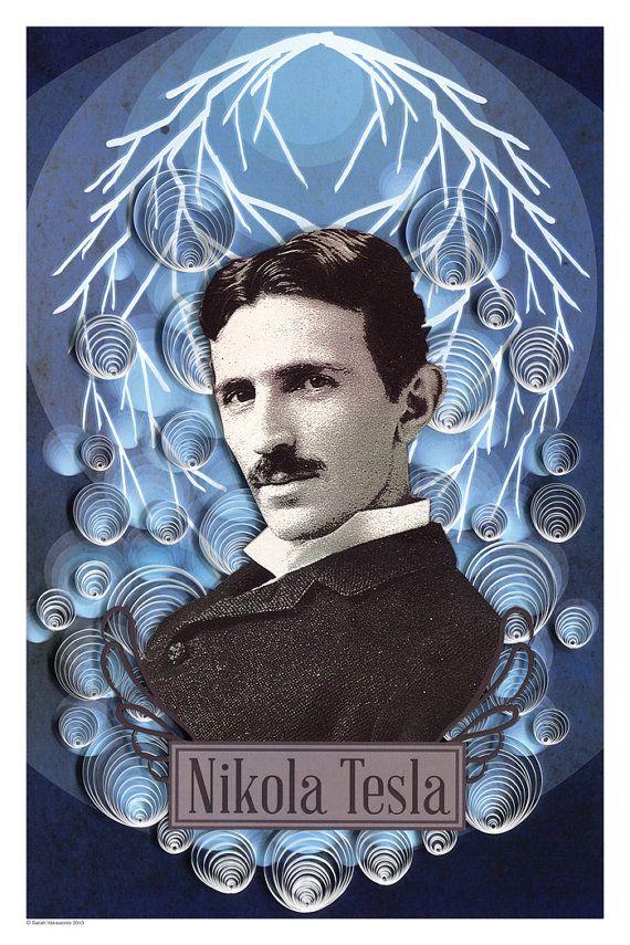 Nikola Tesla Poster Paper Art Print 12x18 Nikola Tesla Tesla Art Prints