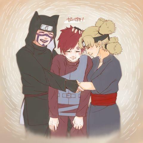 Sand Siblings, Gaara, Kankuro, Temari, hugging, crying, happy, text; Naruto