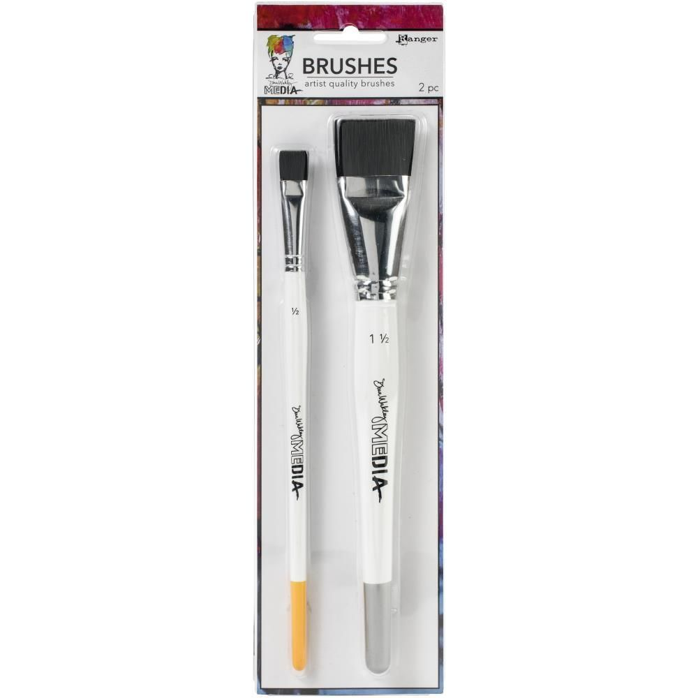 Dina Wakley Media Stiff Bristle Brushes 2/Pkg