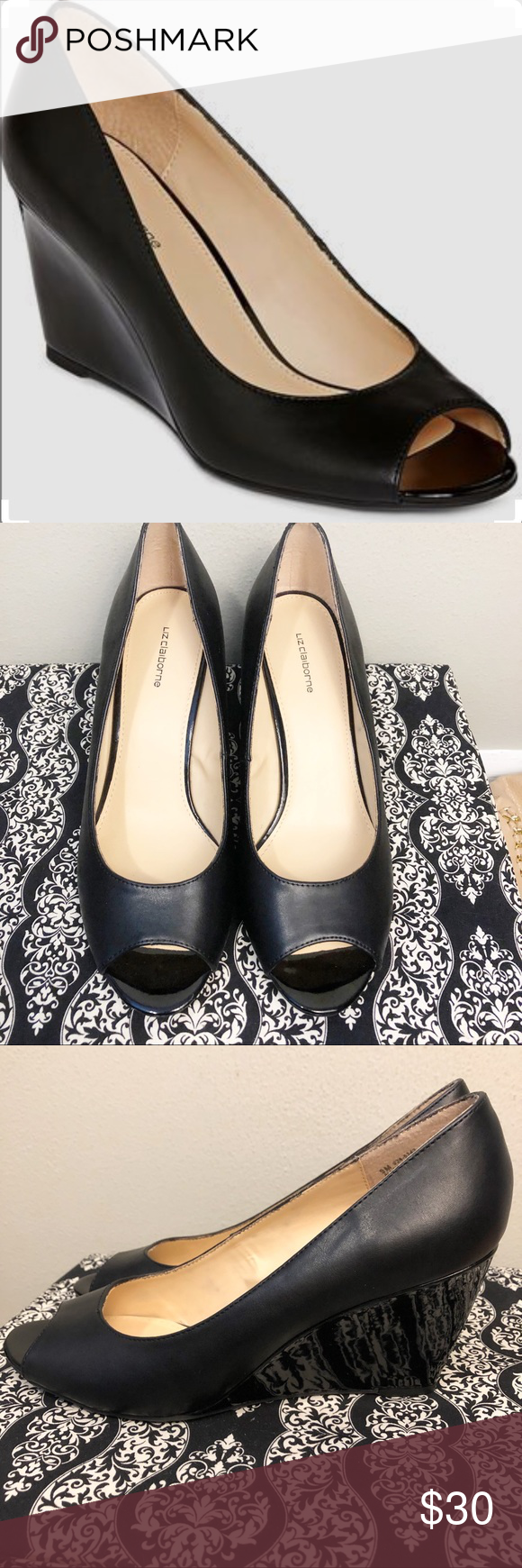 bee740b830 Liz Claiborne Paula Peep Toe Wedge Pumps NWOT Brand new without tags. Liz  Claiborne peep toe wedge pumps. Black leather. Size 9 Liz Claiborne Shoes  Wedges