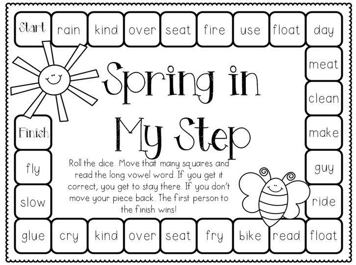 Long Vowels; Spring Worksheet; Spring Center; No Prep