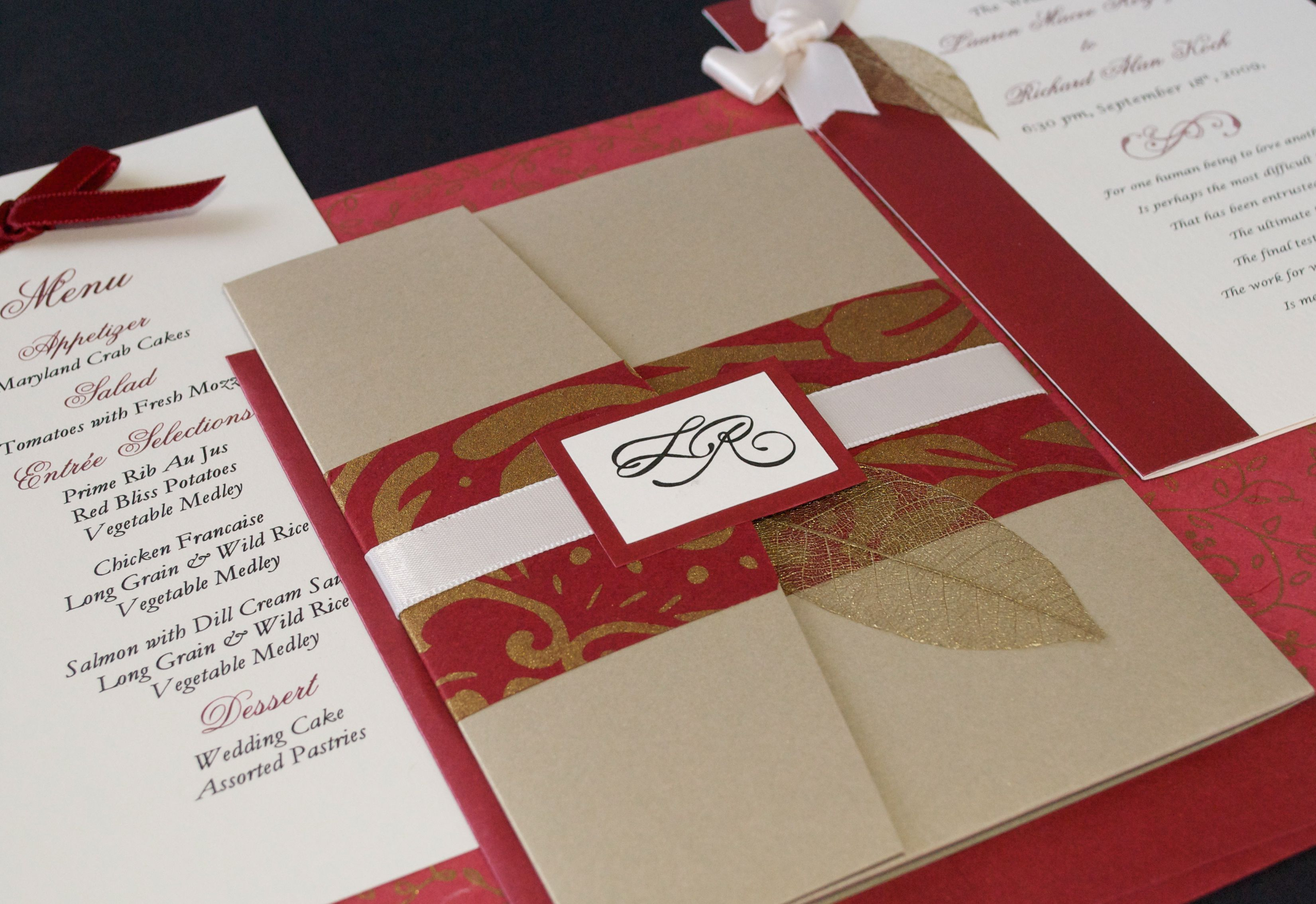 Fall Wedding Invitation in an Antique Gold Pocket-fold Enclosure ...