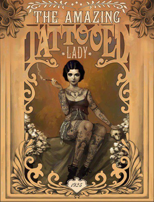Tattooed Lady Marcus Jones Freakshow Circus Unframed Canvas or Paper Art Print
