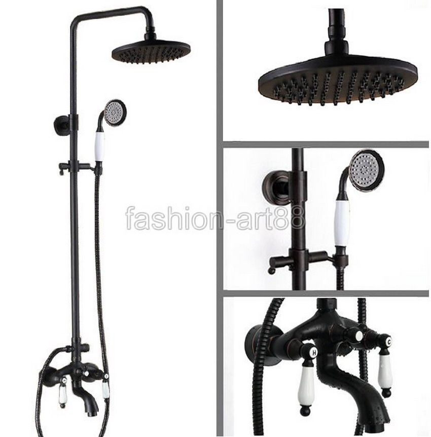 Black Oil Rubbed Brass Waterfall Rain Shower Head Handheld Bathroom  Bathtub Sink Faucet Set ars403