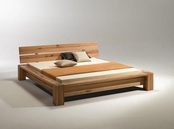 Gorgeous Oak Simple Solid Wood Bed Modern Design Ideas With