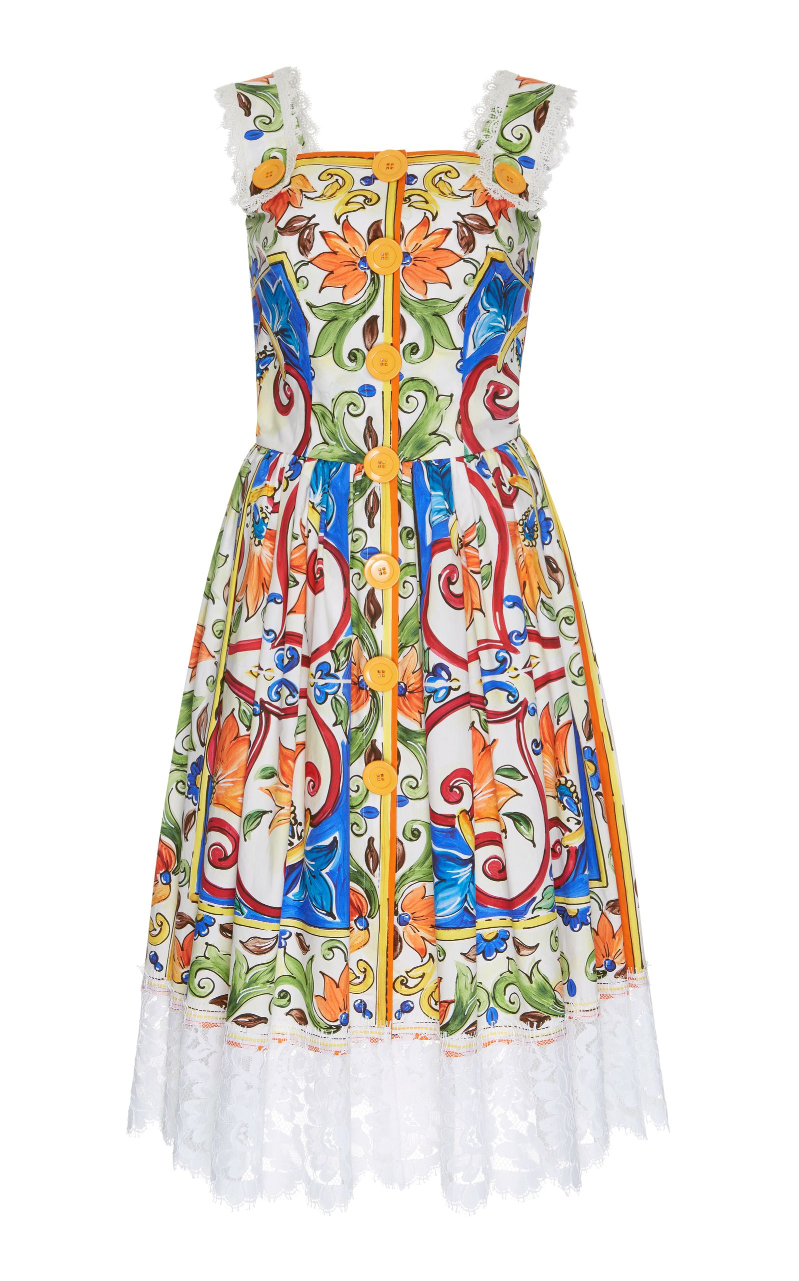 e92dc7bb DOLCE & GABBANA MAIOLICA PRINT BUTTON-UP DRESS. #dolcegabbana #cloth ...