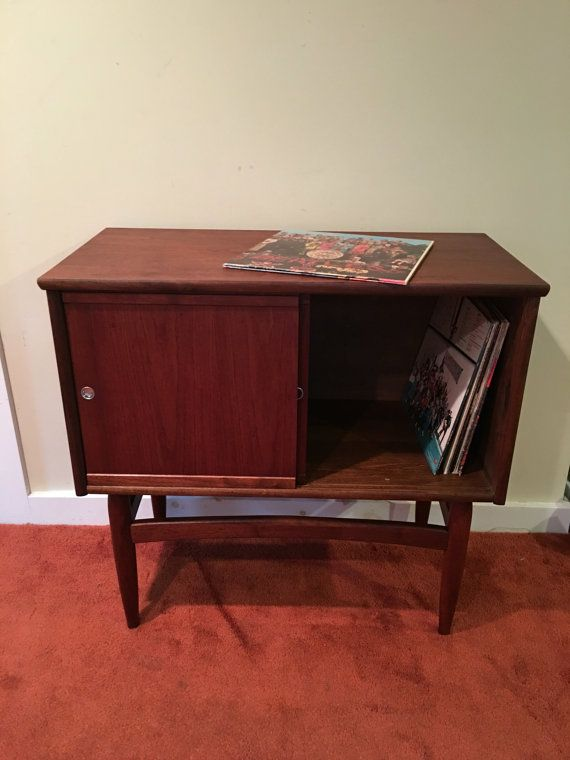 mid century modern record cabinet wood record cabinet with sliding rh pinterest com