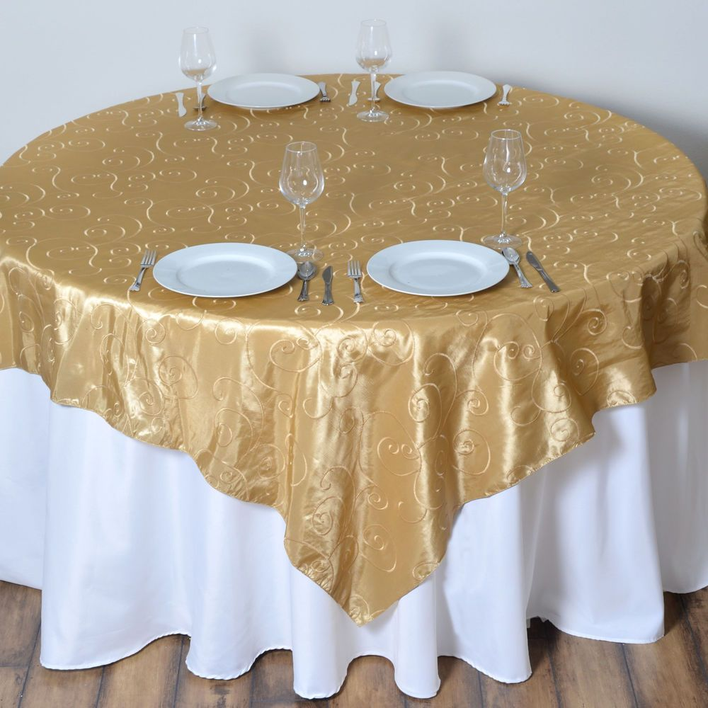 Champagne Embroidered Taffeta 72x72 Table Overlay Wedding Party Catering Linens Table Overlays Party Catering Linen Chair Covers