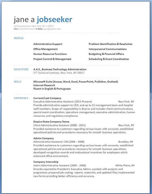 cheeky administrative assistant resume template word - Executive Assistant Resume Templates