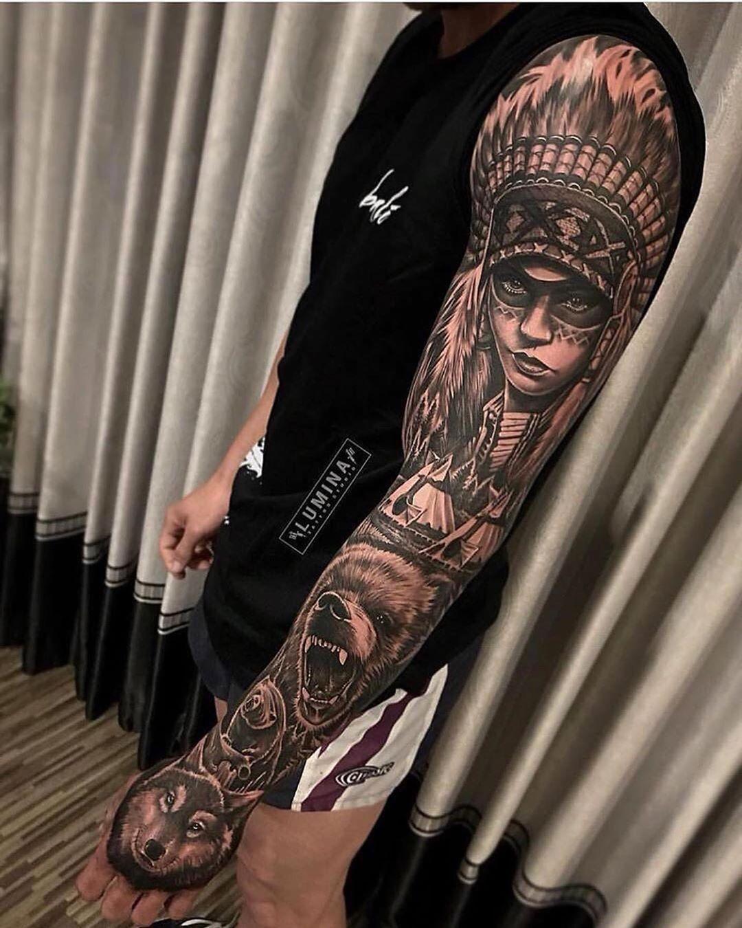 Tattoos In 2020 Sleeve Tattoos Native American Tattoo Sleeve Native Tattoos