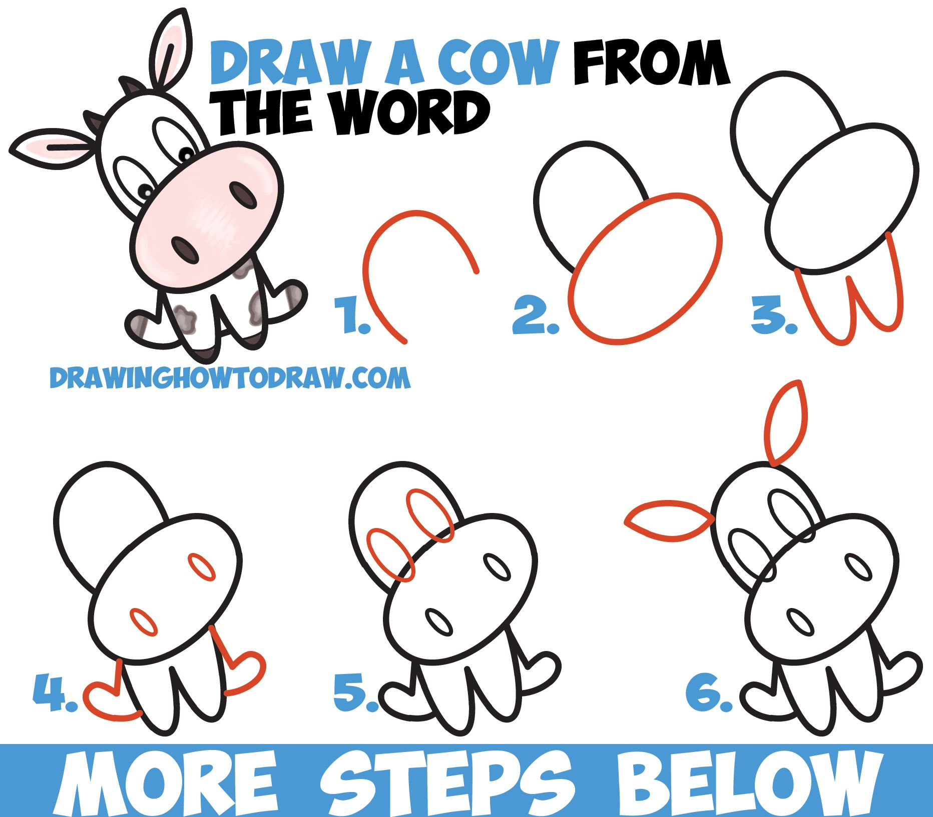How To Draw A Cute Cartoon Kawaii Cow Word Toon Easy Step By Step Drawing Tutorial For Kids How To Draw Step By Step Drawing Tutorials Word Drawings Drawing Tutorials