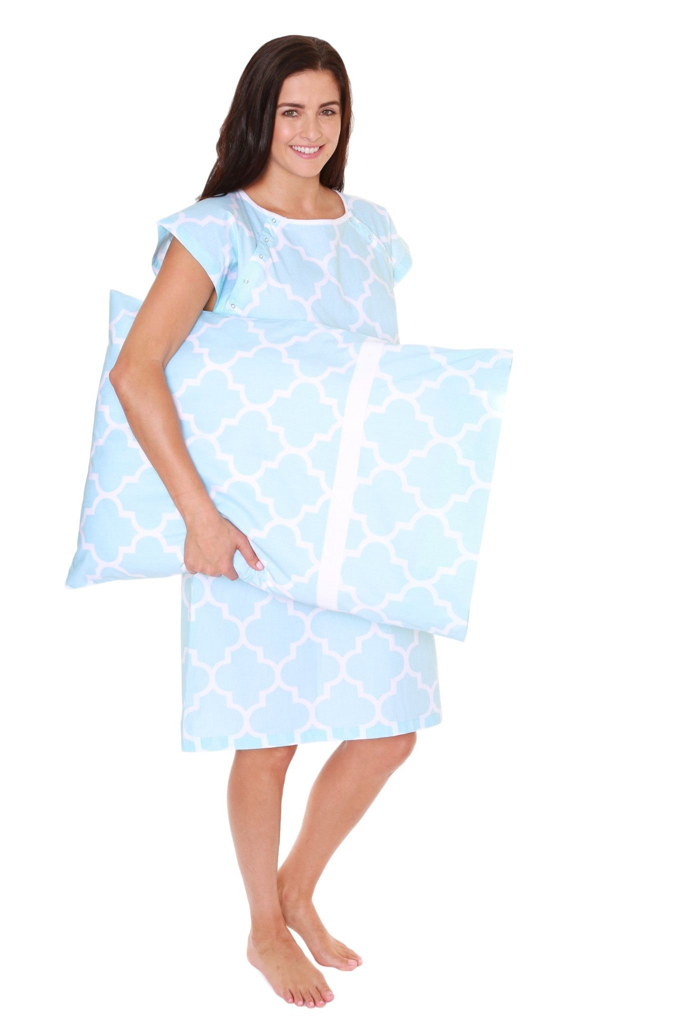 Marin Maternity Labor Delivery Hospital Gown Gownie & Pillowcase Set