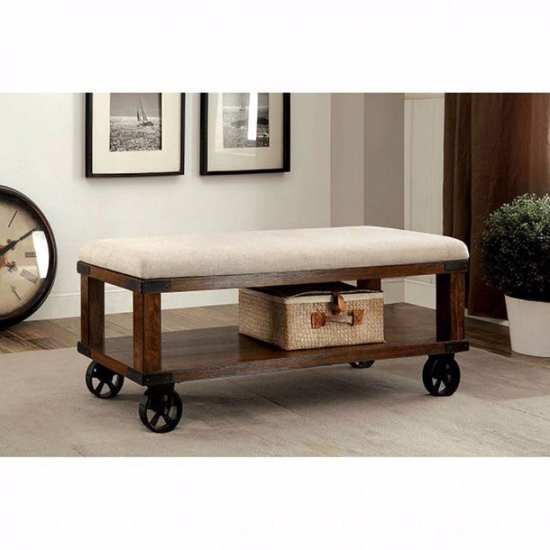 Best Aarons Industrial Upholstered Entryway Bench Upholstered Entryway Bench Light Oak Furniture 400 x 300