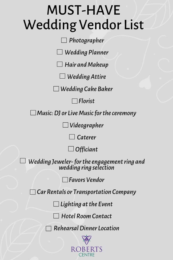 Wedding Vendor List Planning A Small Wedding Wedding Tips For Vendors Wedding Planning Guide