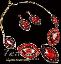 Ruby Red Crystal Antique Gold Necklace Set Chunky Elegant Costume