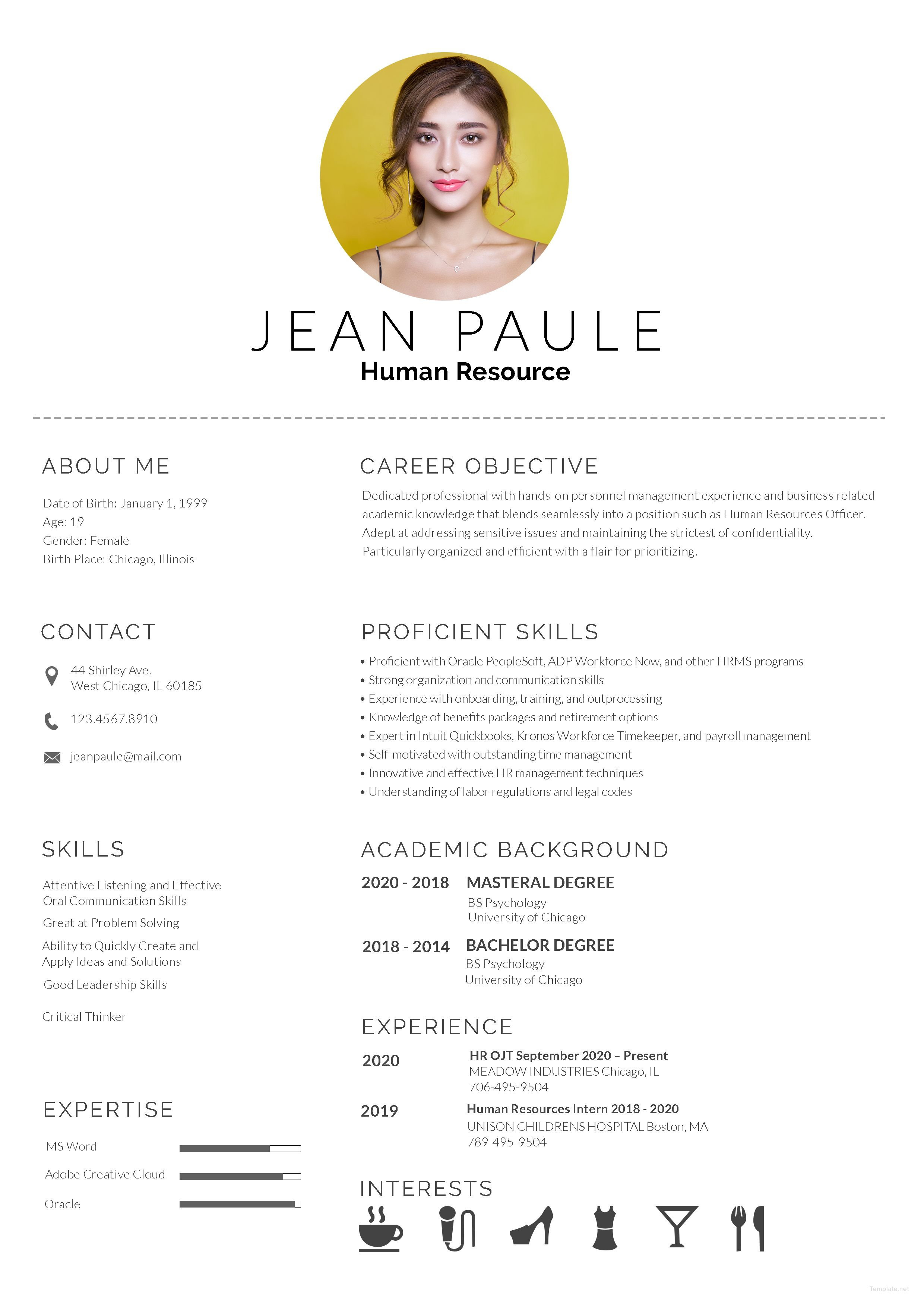Free HR Fresher Resume Resume template free, Student