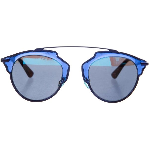 8e494d9277a6 Pre-owned Christian Dior So Real Sunglasses ($295) ❤ liked on Polyvore  featuring accessories, eyewear, sunglasses, blue, mirror lens sunglasses,  ...