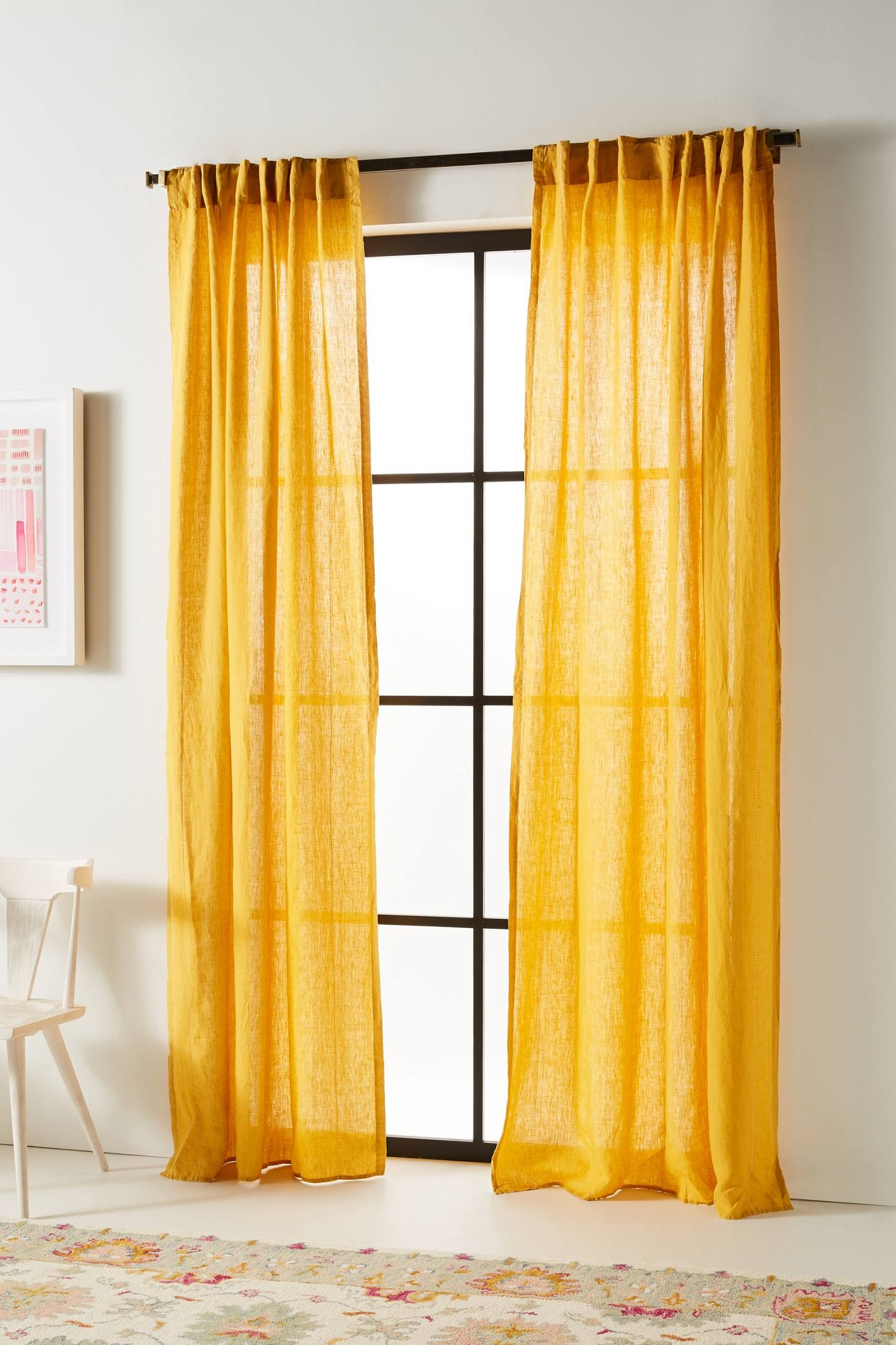 Stitched Linen Curtain In 2020 Yellow Bedroom Linen Curtains Romantic Yellow Bedroom