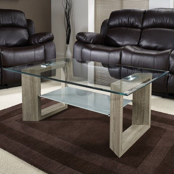 Tempered Glass Table Top With Frosted Glass Shelf And Oak Veneer Pedestal.  Item Dimensions: H: 45 Cm L: 110 Cm W: 70 Cm SKU : GOLFCOFFEEDS