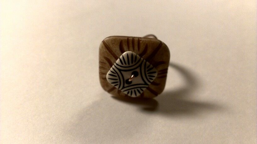 Vintage wooden button ring handmade