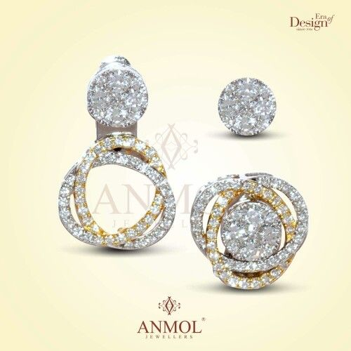 Gold diamond earrings changeable convertible love ...