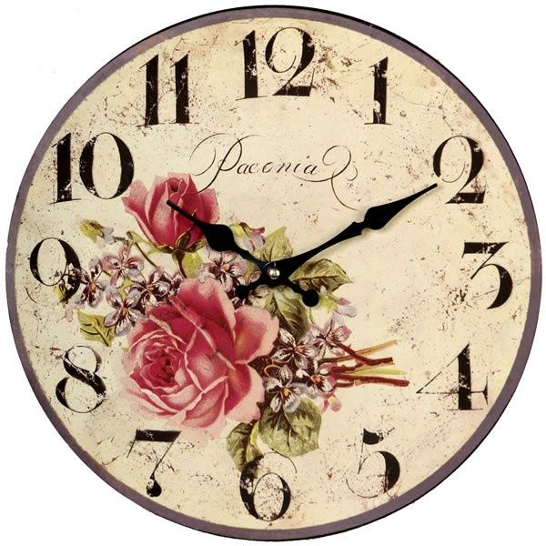 Large Wall Clock Cream With Flowers French Vintage Chic Cottage