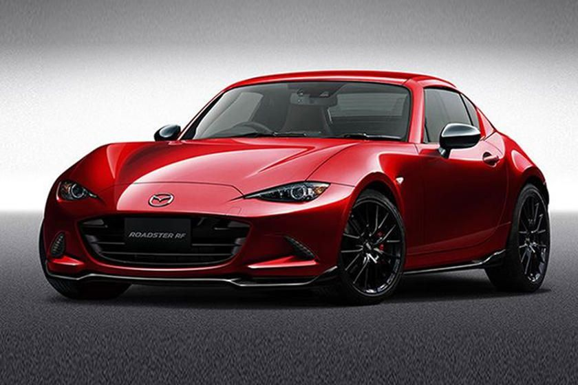 The Mazda Mx 5 Receives A Sporty Makeover With The Custom Rf While The Classic Red Harks Back To The Original Miata Mazda Mx5 Miata Mazda Miata Mazda Mx5