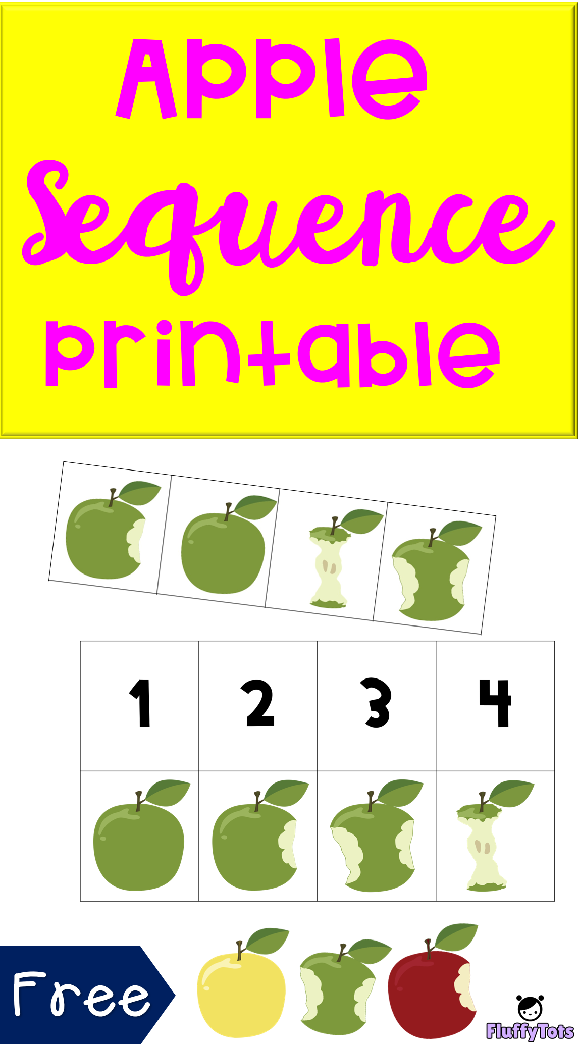 Eating Apple Sequencing Printable