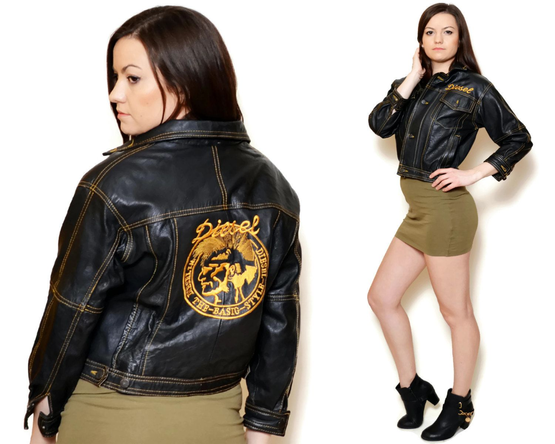 80s Jacket Black Long Sleeve Trucker Leather Biker Women Etsy Leather Skirt Outfit Leather Jacket Vintage Leather Jacket [ 1200 x 1500 Pixel ]