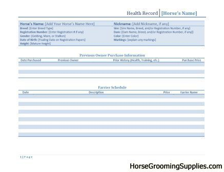 Horse Template Printable  Discuss Horse Health Record Template
