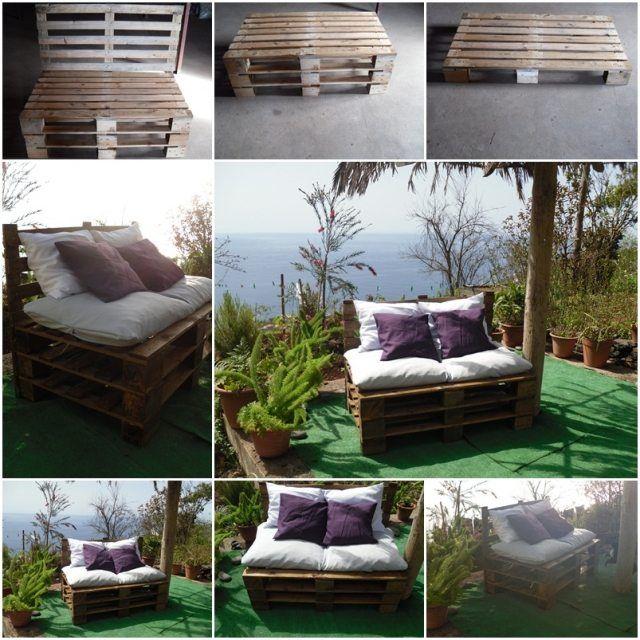 terrasse balkon sofa europaletten ideen bauen | Palleten-Möbel ...