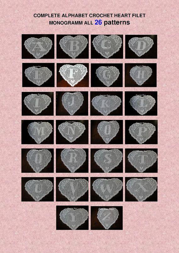 26 pattern crochet doily filet alphabet complete heart., home decor ...