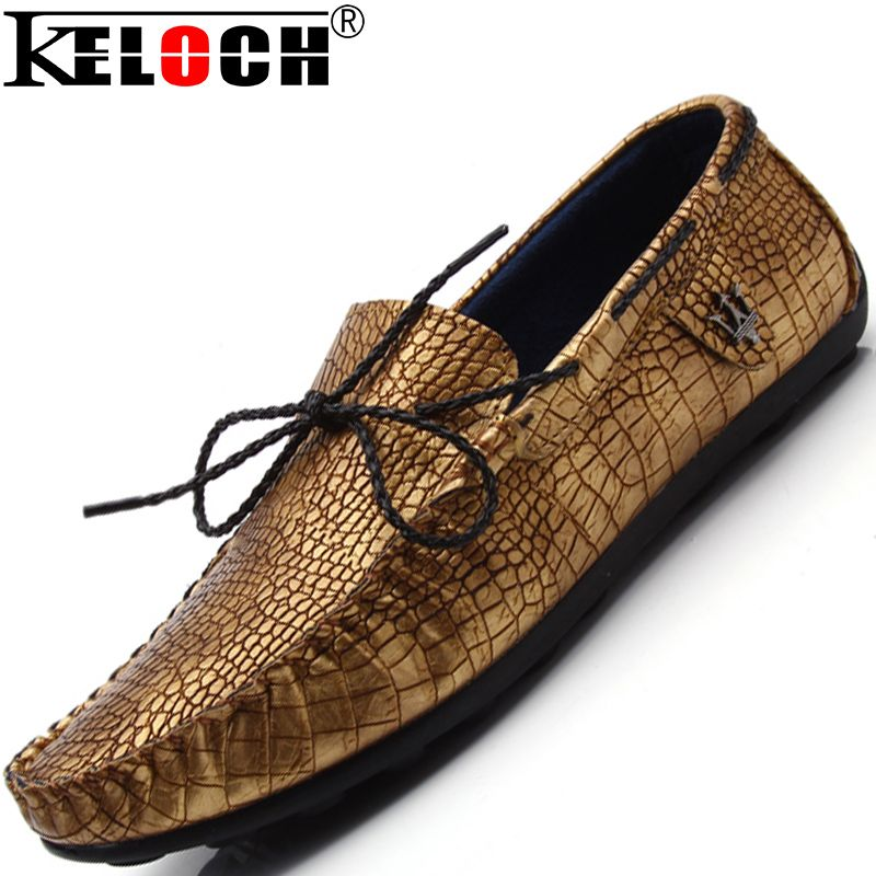 Keloch Mens Shoes Casual 2016 Fashion Men Shoes Crocodile Leather Men  Loafers Moccasins Slip On Men'S