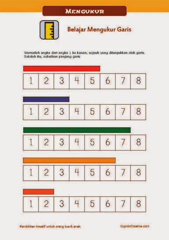 belajar mengukur untuk PAUD, hubungan panjang garis dengan angka, untuk TK