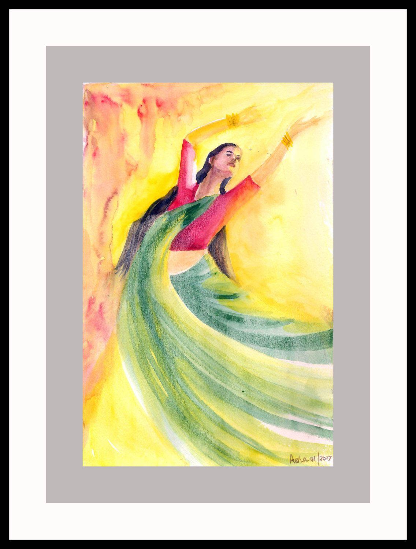 Beautiful Original Handmade Dancer Art, Colorful Indian Dancer Wall ...