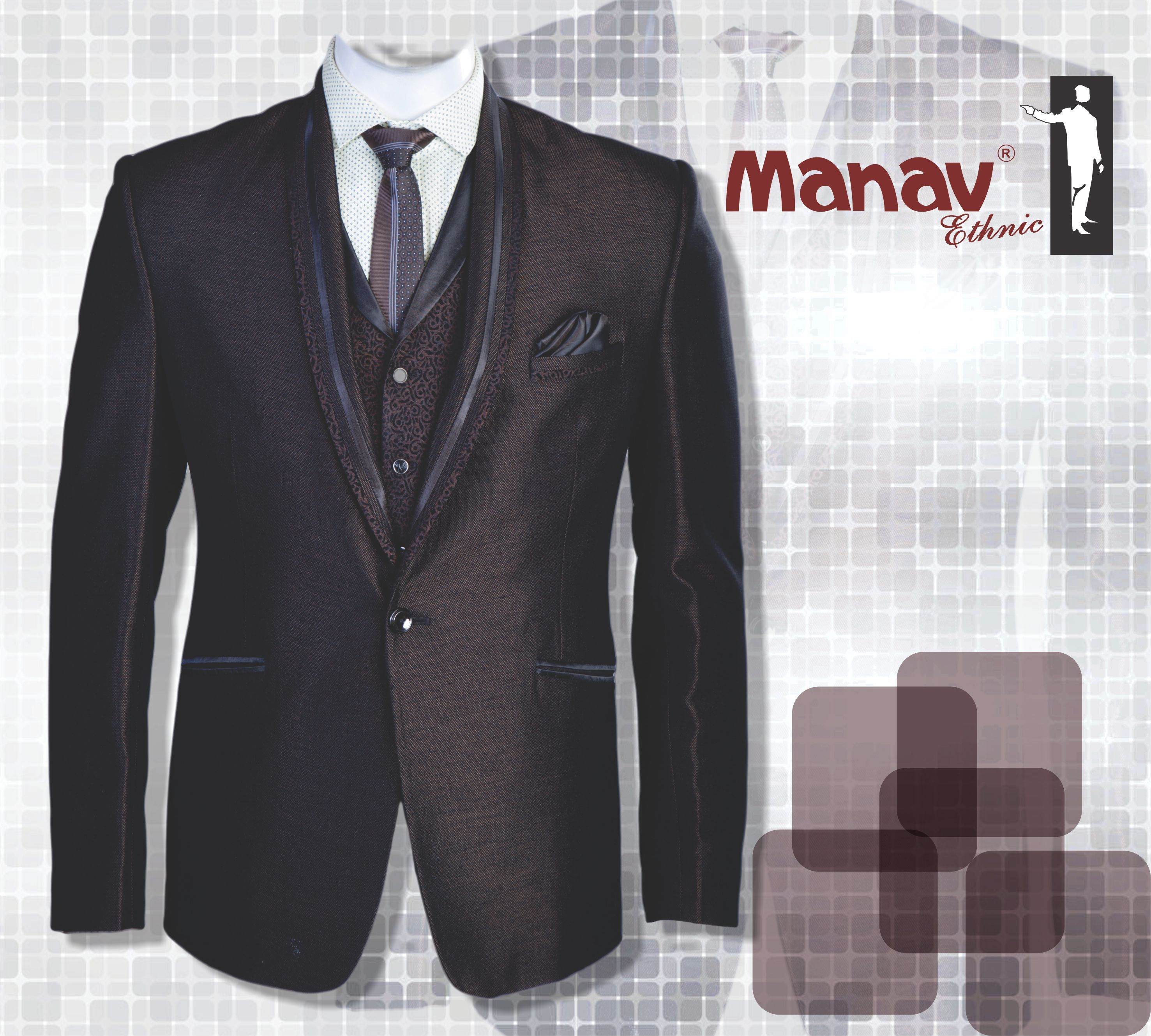 Made with the best Italian Fabric, this 5 piece Tuxedo Suit will leave you flattered. www.manavethnic.com