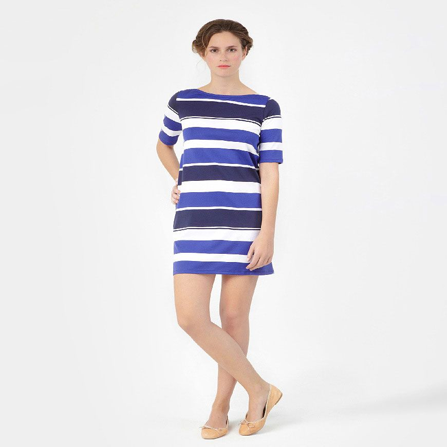 Summer stripes...Women'S Boat-Neck Dress With Bayadere Stripes | Petit Bateau US Official Online Store