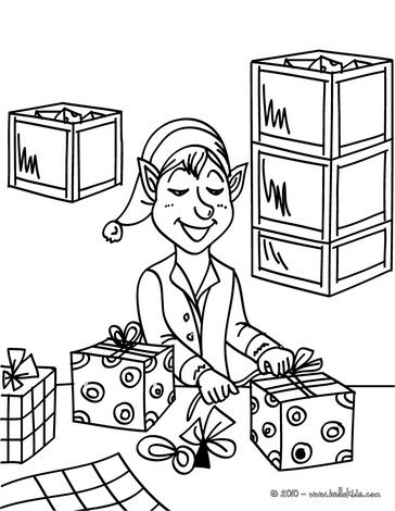 Santa S Helper Is Wrapping Gifts Coloring Page Christmas