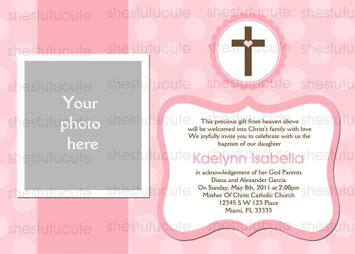 Girls Baptism Invitations Digital File by ShesTutuCuteBtq on Etsy