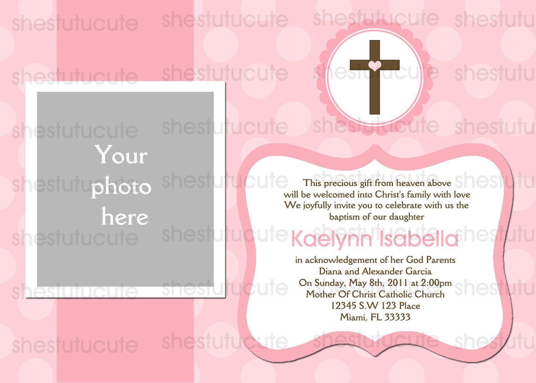Girls Baptism Invitations Digital File By Shestutucutebtq On Etsy Xzuyte3w