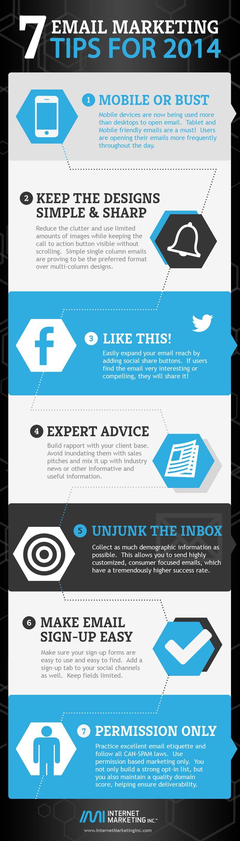 7 Email Marketing Tips for 2014 #emailmarketing #webdesign #interactivedesign #designinspiration