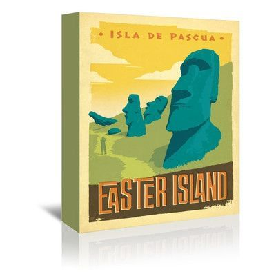 Americanflat Easter Island Vintage Advertisement on Gallery Wrapped Canvas Size: