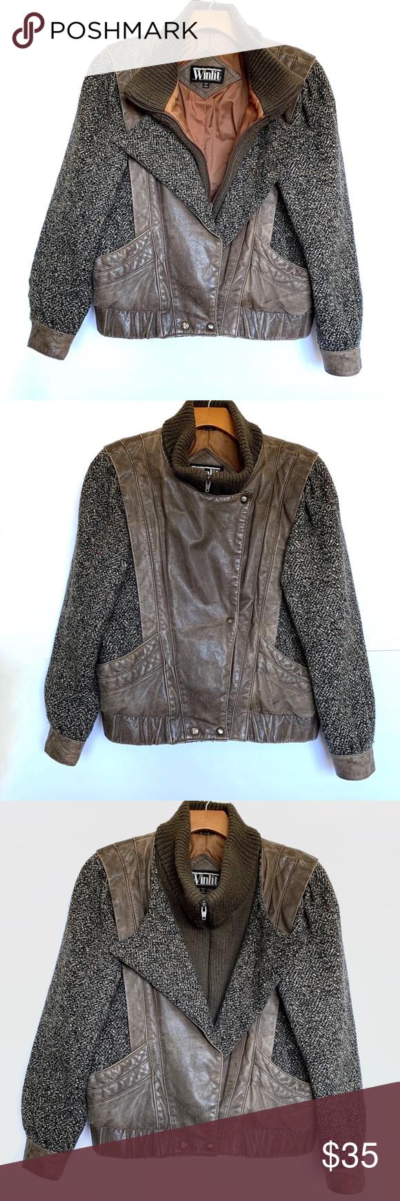 Winlit Vintage Genuine Leather and Tweed Jacket in 2020