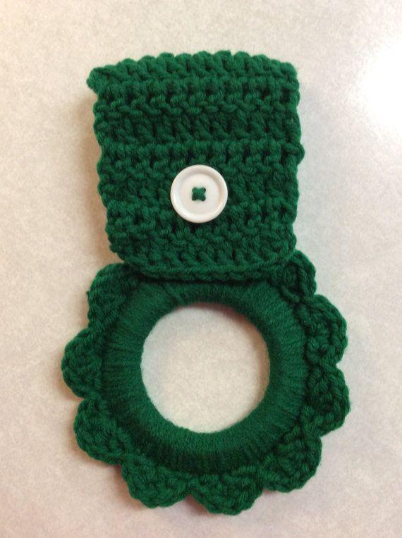 Kitchen towel hanger, crochet towel hanger, button towel hanger