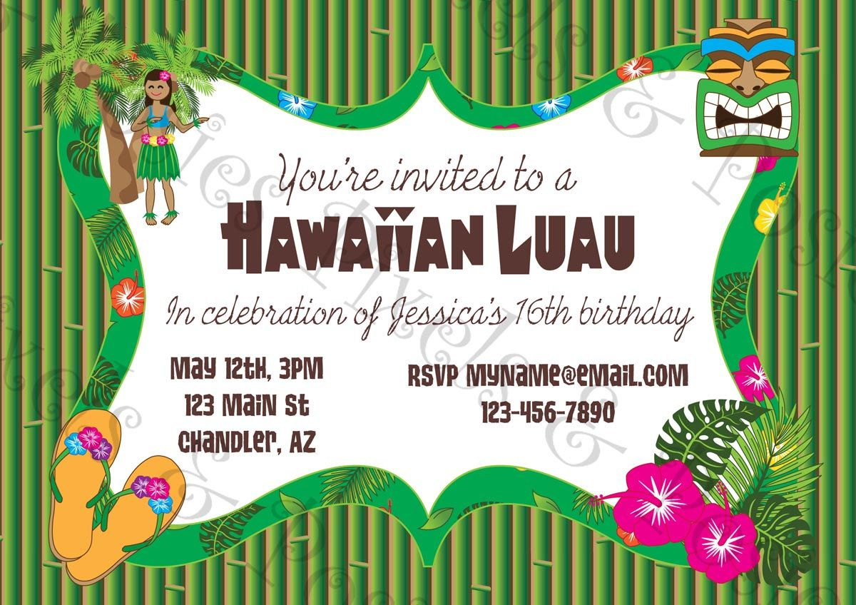 Free Printable Hawaiian Luau Party InvitationsFree Invitations