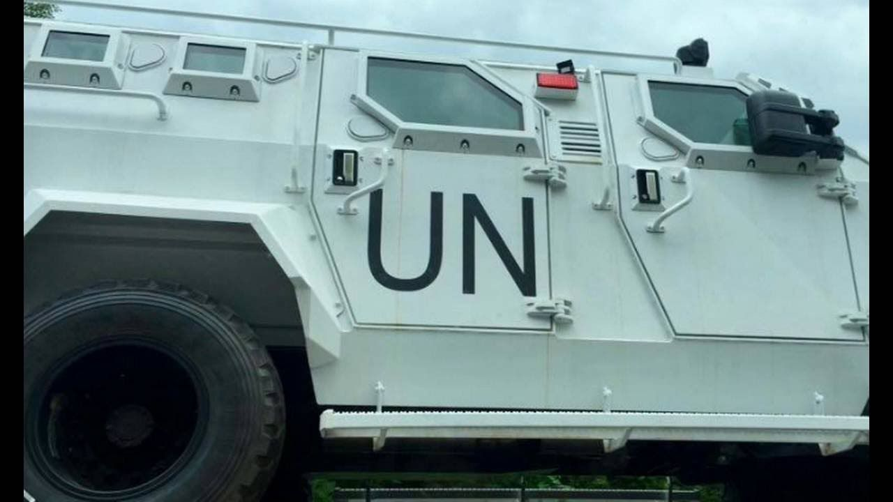 Heads Up! UN Military MRAPs Being Hauled On Flatbeds In