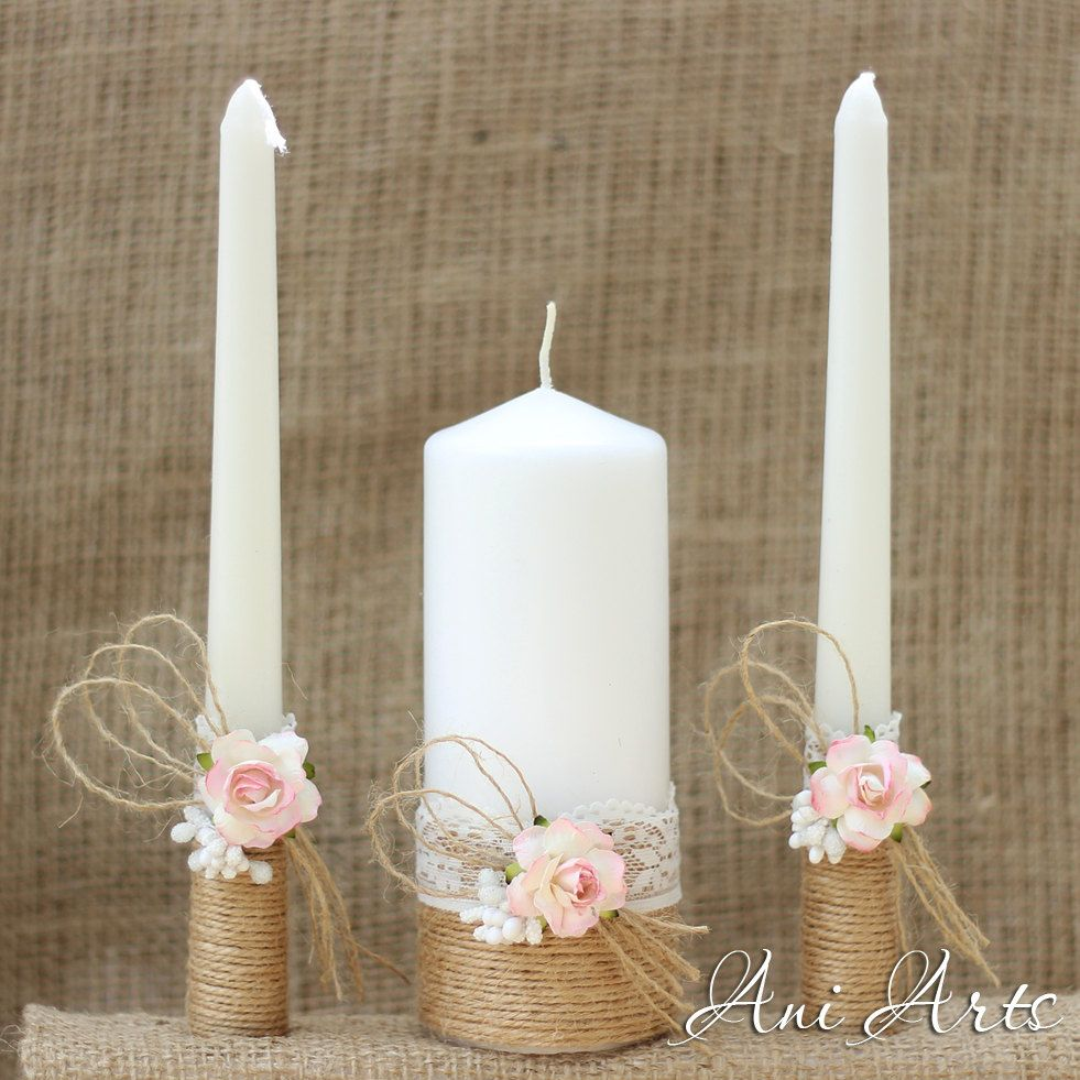 Rustic Wedding Set, Unity Candles and Champagne glasses